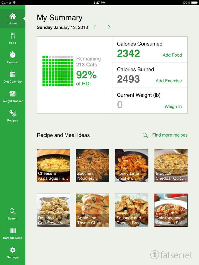 FatSecret cung cấp chế độ tổng kết hàng tháng, hiển thị tổng lượng calo tiêu thụ mỗi ngày